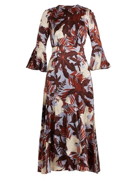 Erdem dress satin dress silk satin print burgundy