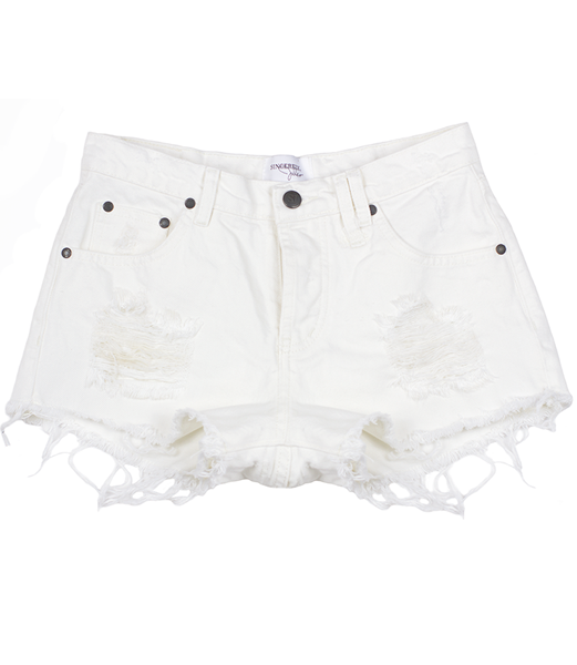 DENIM CUT OFF SHORTS- WHITE – Shop Sincerely Jules