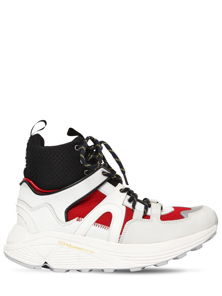 GANNI 30mm Brooklyn Leather High Top Sneakers in black / red / white
