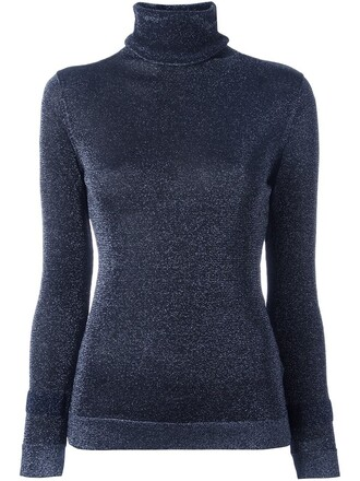 sweater metallic women turtle blue