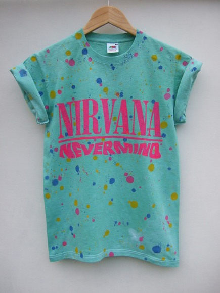nirvana t-shirt grunge mint green tie dye nevermind