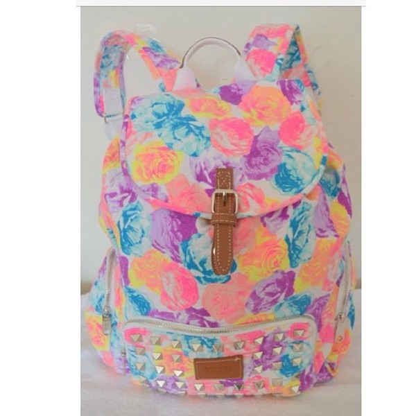 Amazon.com: Victoria's Secret PINK Backpack Bling Studded Floral ...