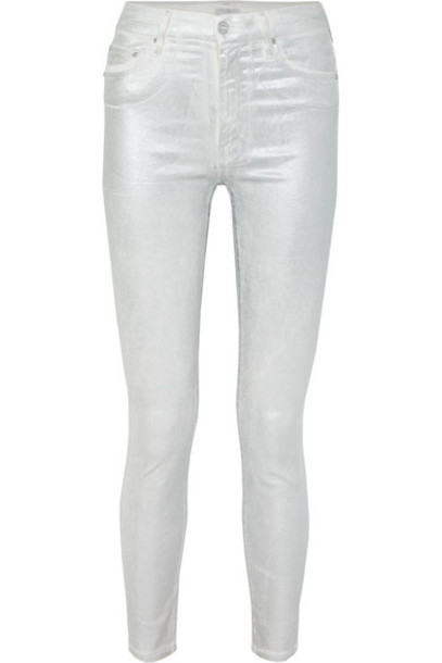 Mother - Looker High-rise Metallic Skinny Jeans - Silver