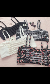 bandeau,caged bralette,caged,floral top,white top,black top,aztec,summer top,summer outfits,crop tops,tank top,top