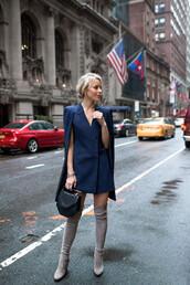 happily grey,blogger,blue jacket,blue dress,knee high boots,suede boots,black bag,mini bag