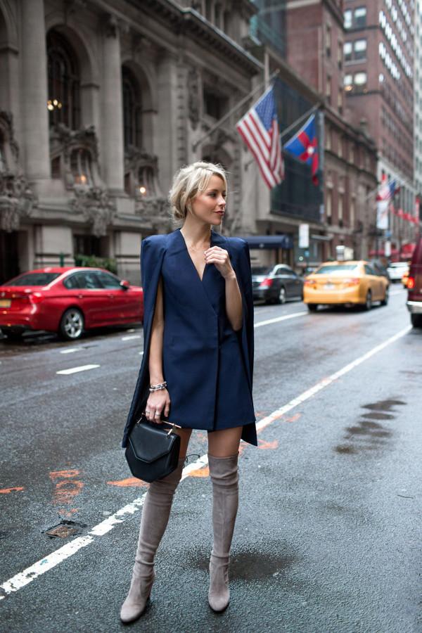 happily grey blogger blue jacket blue dress knee high boots suede boots black bag mini bag