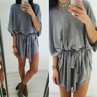 dress shirt dress t-shirt dress grey gray grey dress gray dresses tie front tie dress tie dress belt belted dress shoes