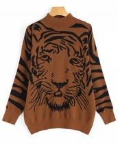 sweater,girly,brown,sweatshirt,print,printed sweater,tiger