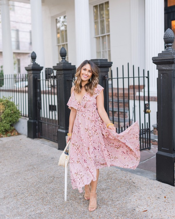 hauteofftherack blogger dress shoes bag jewels pink dress maxi dress sandals spring outfits