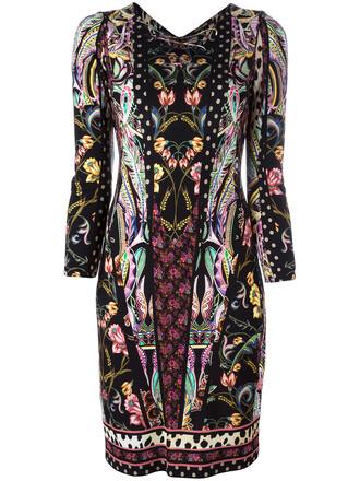 dress women floral print black