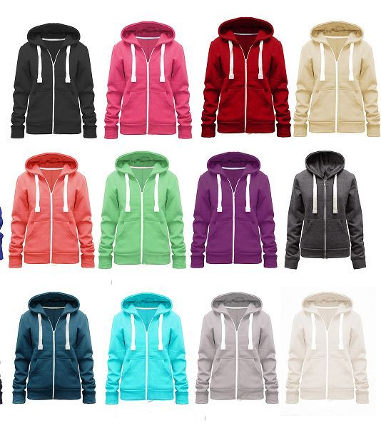 Ladies Women Plain Hooded Zip