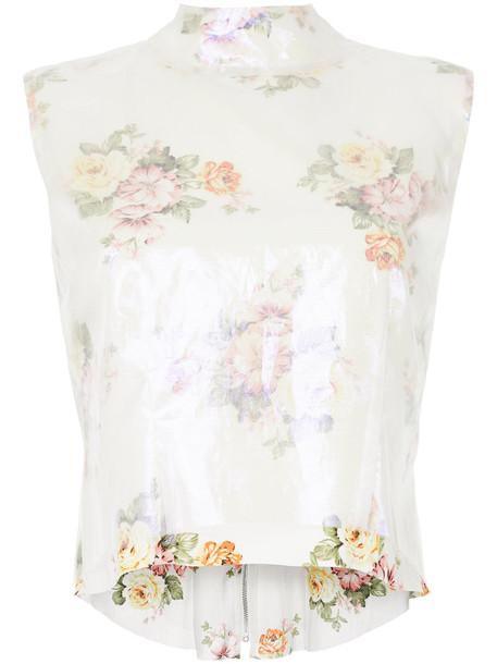 Zambesi top high women floral white print silk