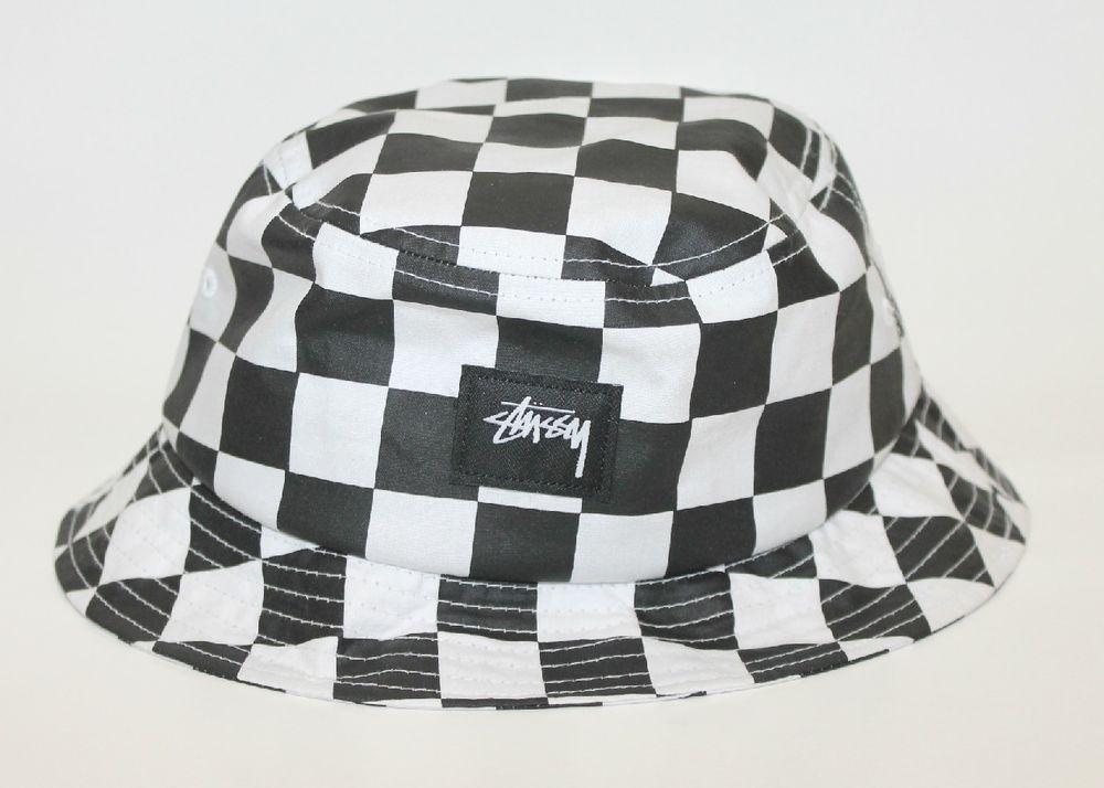 d53cb812608cf Stussy Checkerboard Checker Bucket Hat Black   White New Size L-XL