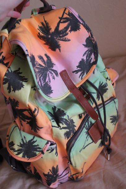 bag backpack palm tree color/pattern