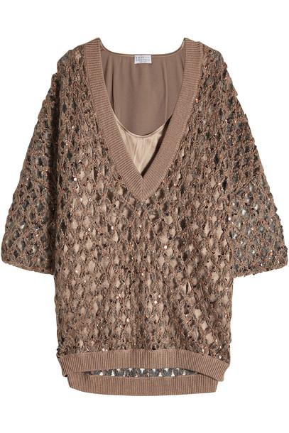 Brunello Cucinelli Pullover with Mohair, Cotton and Silk Camisole  in brown