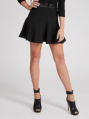 Faux-Leather Waistband Godet Skirt at Guess