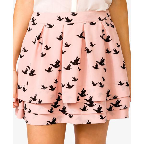 Bird Print Skirt | FOREVER21 - 2000049162 - Forever 21 - Polyvore