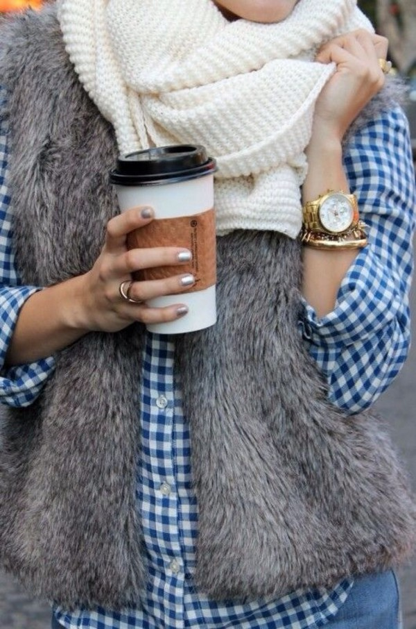 scarf fall outfits vest fur vest gingham fall outfits fall scarves coffee warm cozy jacket faux fur vest blouse grey fur vest fur coat