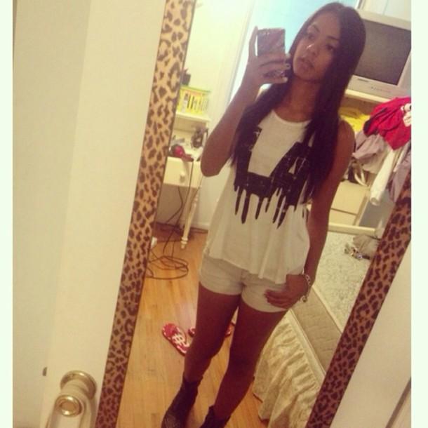 shorts la shirt black and white