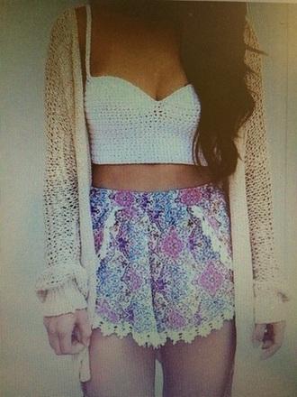 shorts pink blue shorts lace shorts