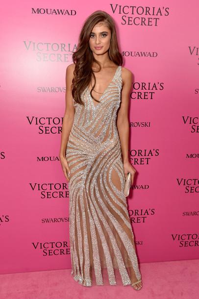 dress gown sparkly dress sparkle Taylor hill model prom dress wedding dress victoria's secret victoria's secret model