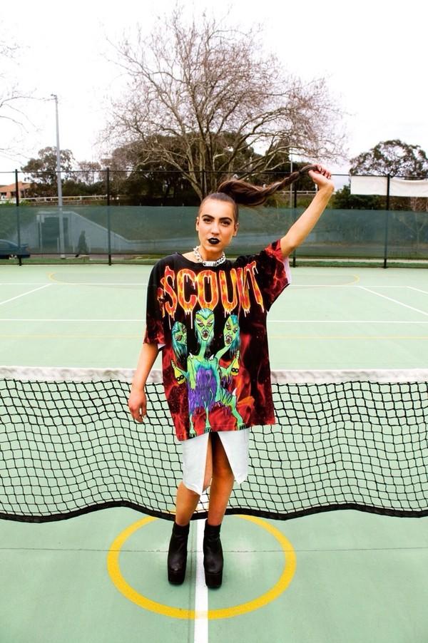 shirt zombie  tshirt t-shirt tumblr grunge 90s grunge grunge skirt
