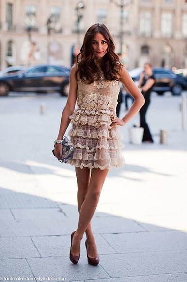 dress olivia palermo it girl cute dress cute girly beige