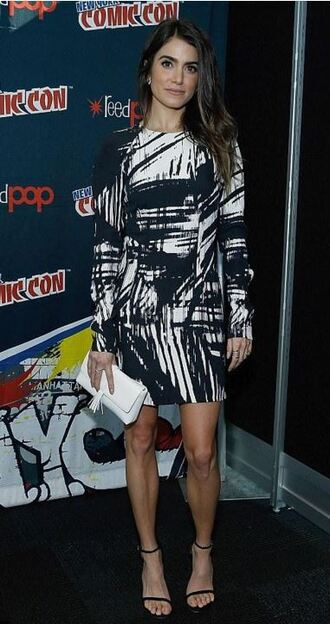 dress comic con nikki reed sandals mini dress black and white bag