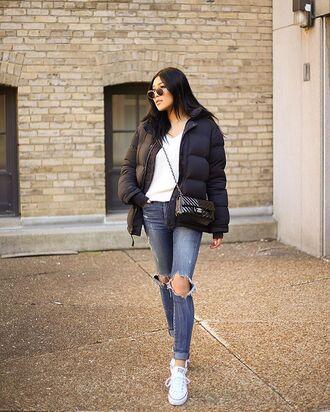 jacket winter jacket black jacket top white top converse denim jeans ripped jeans sunglasses bag