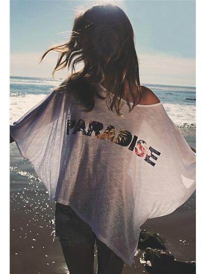 Blue Life Paradise Phoenix Cape Tee in White