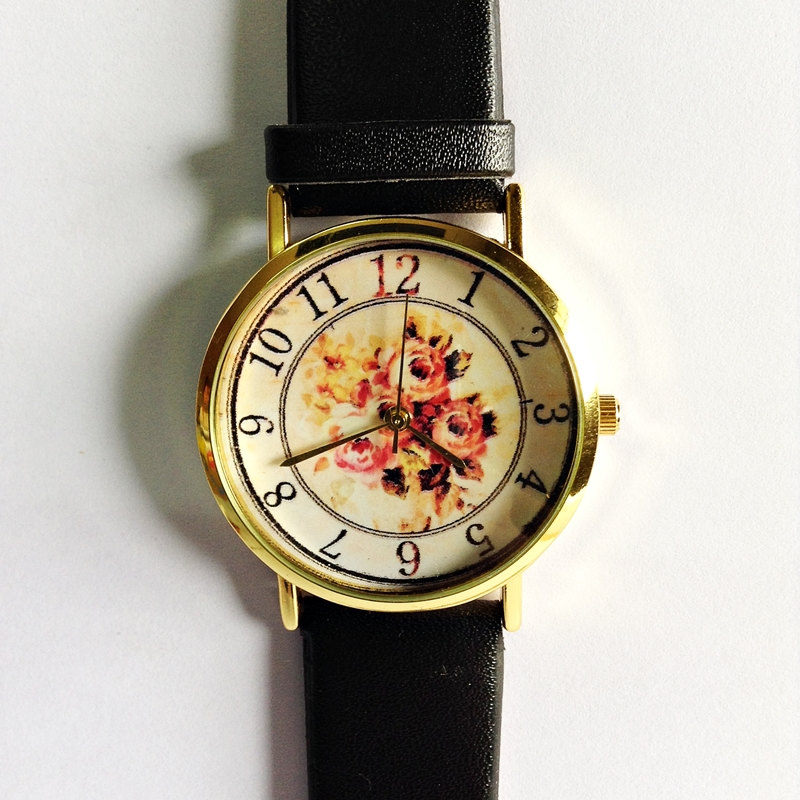Floral Watch, Vintage Style Leather Watch, Women Watches, Boyfriend Watch, Black, Tan, White
