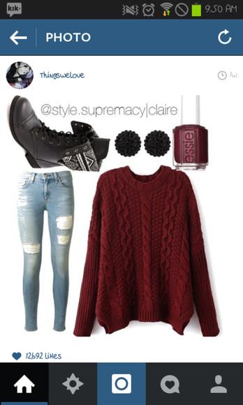 oversized sweater burgundy maroon/burgundy knit sweater