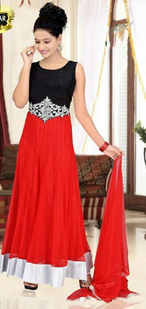 dress gown indian red red and black