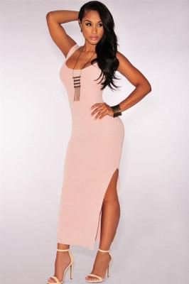 Nude Thigh Slit Maxi Dress