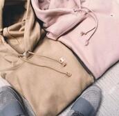 sweater,hoodie,champion,beige,pink