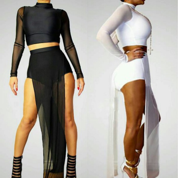 Skirt: mesh, mesh crop tops, mesh white sexy dress, mesh skirt ...