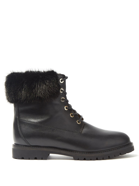 leather ankle boots fur ankle boots leather black shoes