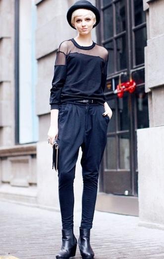blouse black sweatshirt mesh paneled sheer