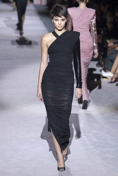 dress one shoulder one shoulder dress black dress midi dress tom ford kendall jenner kardashians model runway fashion week nyfw 2017 ny fashion week 2017