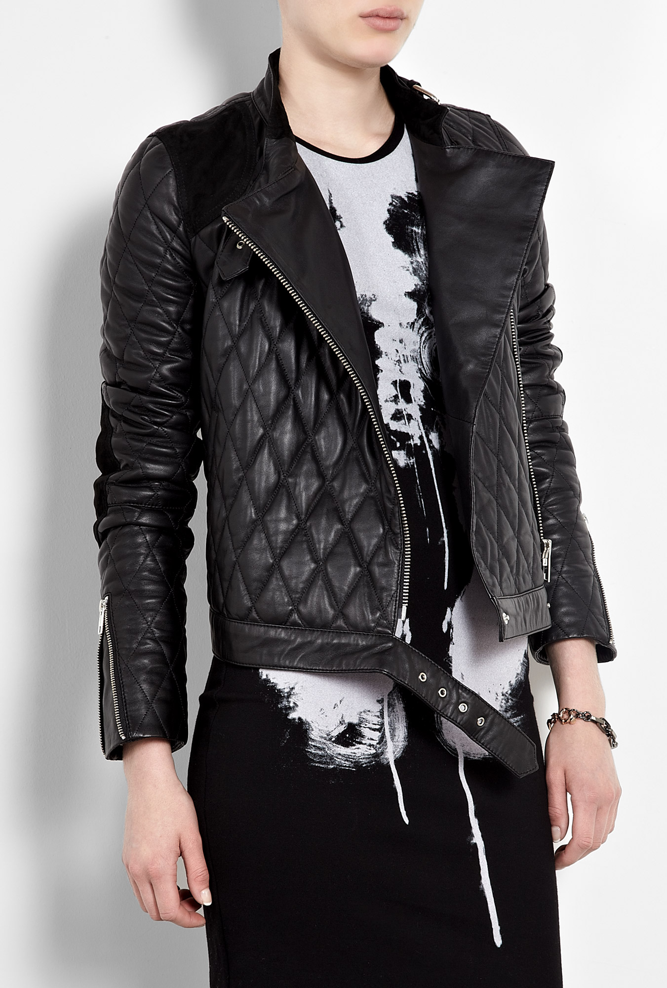 Quilted leather motorcycle jacket by mcq alexander mcqueen