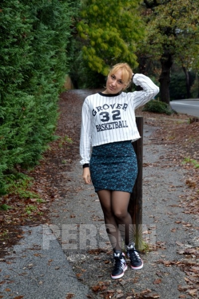 Stylish Letter Print Striped Pullover [FOBK0090] - PersunMall.com