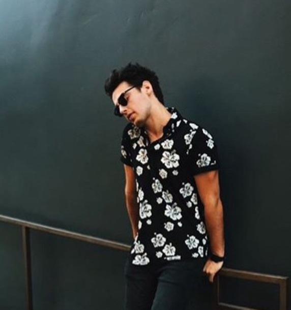 shirt hawaiian shirt summer blake black summer outfits menswear mens shirt black and white