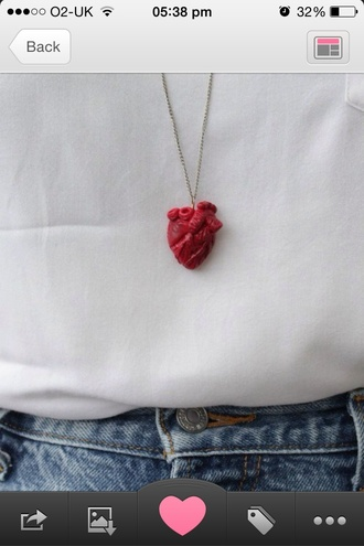 jewels red necklace heart anatomical heart