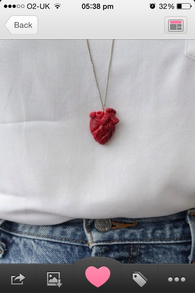 jewels heart necklace anatomical heart red