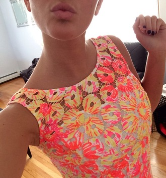 dress print orange yellow pink white dressy lilly pulitzer