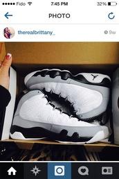 shoes,barron 9s,white,grey,black,jordans