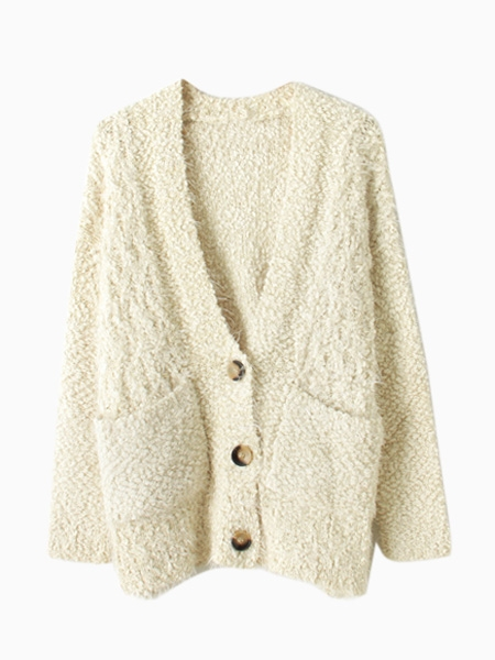 Beige mohair slouchy cardigan