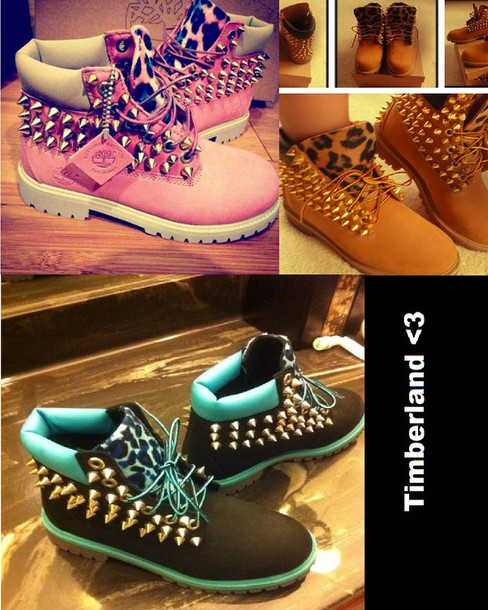 shoes rose bleu noir brin leopard print clou swag mignon timberland