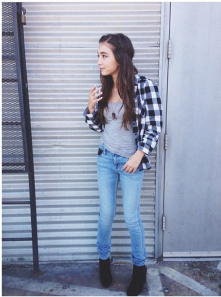 jeans rowan blanchard girl meets world plaid plaid shirt t-shirt shirt boots shoes top