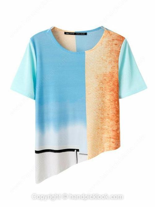 Blue Short Sleeve Color Block Asymmetrical T-Shirt - HandpickLook.com